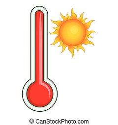 icône, style, dessin animé, thermomètre