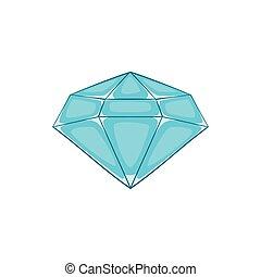 icône, style, diamant, poli, dessin animé