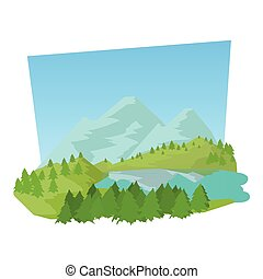 icône, style, forêt, dessin animé