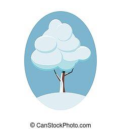 icône, style, hiver arbre, dessin animé
