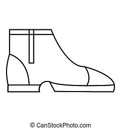icône, style, hommes, contour, bottes