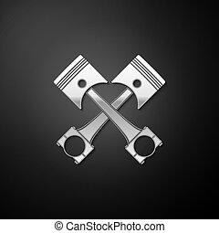 icône, style., isolé, arrière-plan., traversé, ombre, moteur, deux, argent, pistons, vecteur, noir, long