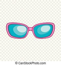 icône, style, lunettes soleil, dessin animé