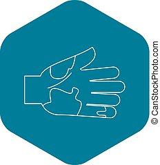 icône, style, main, contour, sale