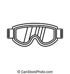 icône, style, masque, contour, ski