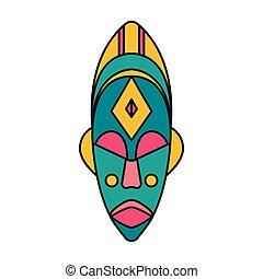 icône, style, masque, dessin animé, africaine