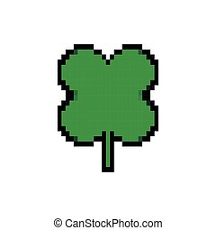 icône, style, pixelated, feuille, bits, trèfle, 8