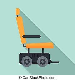 icône, style, plat, puissance, moteur, fauteuil roulant
