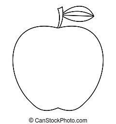 icône, style, pomme, contour