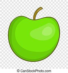 icône, style, pomme verte, dessin animé