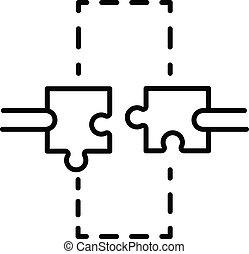 icône, style, puzzle, contour, main