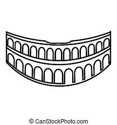 icône, style, rome, colisée, contour