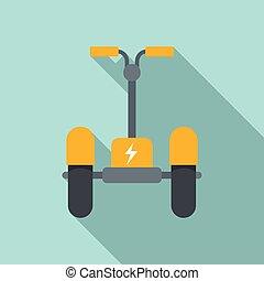 icône, style, scooter électrique, plat