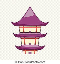 icône, style, temple bouddhiste, dessin animé