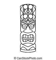 icône, style, traditionnel, totem, contour