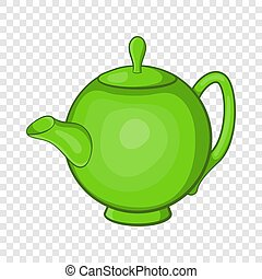 icône, style, vert, théière, dessin animé