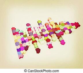 icône, sur, a, thème, fish., puzzle., illustration, pour, conception, ., 3d, illustration., vendange, style.