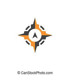 icône, symbole, compas, vecteur