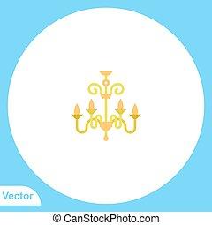 icône, symbole, plat, vecteur, lustre, signe
