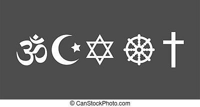 icône, symboles, vecteur, religieux, plat, set., design., ...