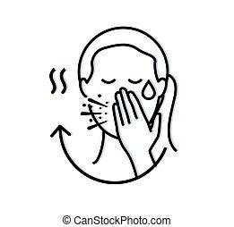 icône, -, syndrome, virus, covid-19, roman, coronavirus, symptômes, respiratoire