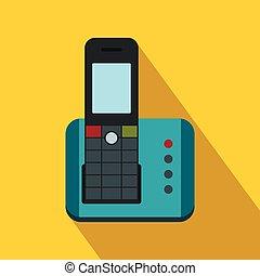 icône, téléphone, style, sans fil, plat