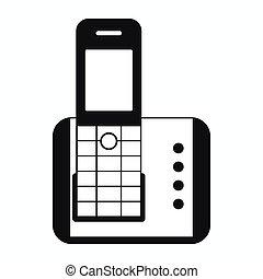 icône, téléphone, style, simple, sans fil