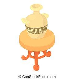 icône, table, style, dessin animé, vase