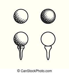 icône, tee golf, balle