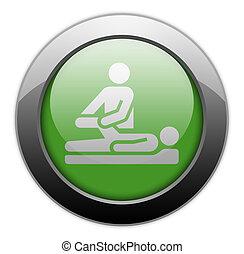icône, thérapie physique, bouton, pictogramme