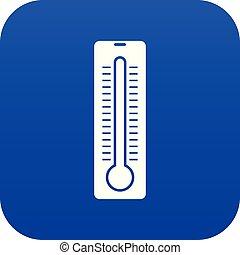 icône, thermomètre numérique, bleu
