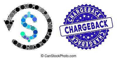 icône, timbre, mosaïque, chargeback, détresse