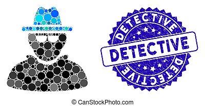 icône, timbre, mosaïque, textured, détective