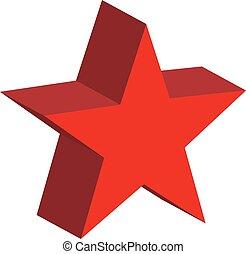 icône, toile, rouges, conception, site, étoile, ton, logo, app, blanc, arrière-plan., symbole., style., plat, 3d, ui.