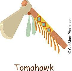 icône, tomahawk, isométrique, style, 3d