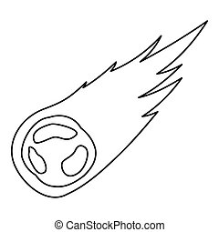 icône, tomber, style, météore, contour