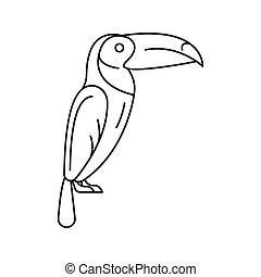 icône, toucan, contour, style