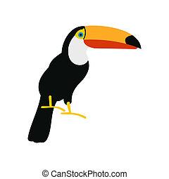 icône, toucan, plat, style