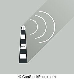 icône, tour, wi, long, ombre, plat, fi