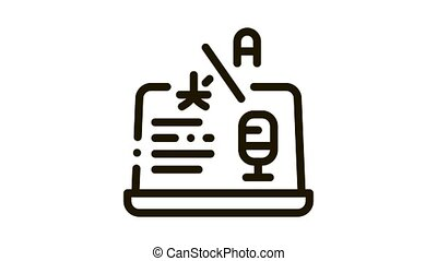icône, traduction, ordinateur portable, animation, programme