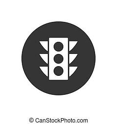 icône, trafic, blanc, lumière, style, gris, plat, vecteur