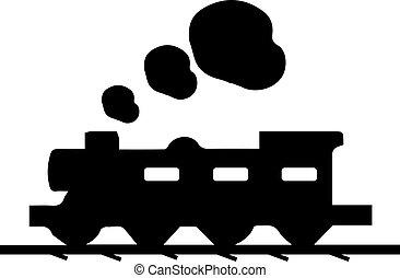icône, train, fond, blanc
