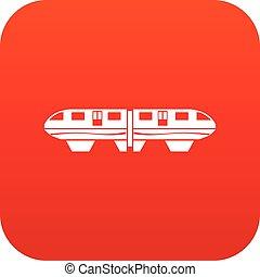 icône, train, monorail, rouges, numérique