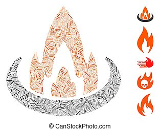 icône, trappe, brûler, emplacement, mosaïque