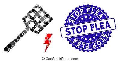 icône, tueur, puce, arrêt, timbre, mouche, mosaïque,...