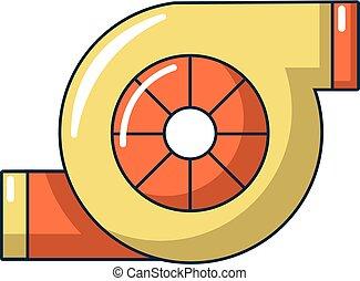 icône, turbo, style, dessin animé, chargeur