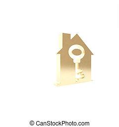 icône, turnkey., isolé, clã©, 3d, render, concept, blanc, arrière-plan., illustration, maison, or