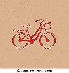 icône, vélo, -, halftone, ville