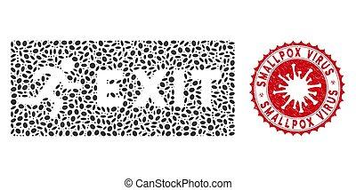 icône, variole, collage, coronavirus, virus, cachet, sortie, détresse, urgence