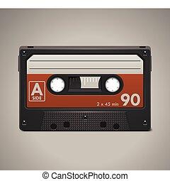 icône, vecteur, bande cassettee, audio, xxl